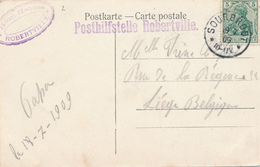 353/29 - CANTONS DE L' EST - Posthilfstelle ROBERTVILLE - Carte-vue Gruss Aus Warchethal TP Germania SOURBRODT 1909 - Weismes