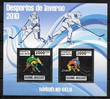 GUINEE BISSAU Feuillet N° 3339/40 * *  OR ( Cote 22e ) Hockey Sur Glace - Eishockey