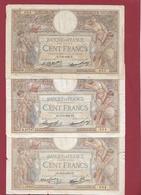 """100 Francs """"Luc Olivier Merson """" 3 Billets Date #   Dans L 'état --05/12/1928---14/031935---30/06/1938 Lot N °21 - 1871-1952 Antiguos Francos Circulantes En El XX Siglo"""