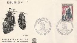 REUNION FDC Yvert 365 Peuplement Ile Bourbon - Cachet   St Denis 1965 - Illustration 6 - 2 Plis à Droite - Reunion Island (1852-1975)
