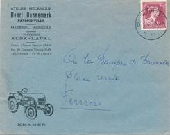 354/29 - CANTONS DE L' EST- FAYMONVILLE - Lettre Illustrée Tracteur TP Col Ouvert WAIMES 1952 - Entete Matériel Agricole - 1936-1957 Open Kraag