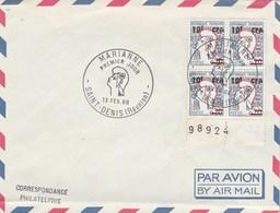 REUNION FDC Yvert 349A  Bloc De 4 Marianne De Cocteau - St Denis 13/2/1966 - Pli En Bas - Lettres & Documents
