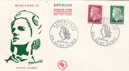 REUNION FDC Yvert 384 Et 385 Marianne De Cheffer - St Denis  13/4/1969 - Reunion Island (1852-1975)
