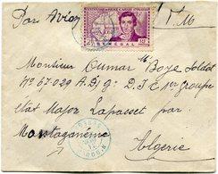 SENEGAL LETTRE AVEC AFFRANCHISSEMENT COMPLEMENTAIRE AU DOS DEPART N'DOULO 31 DEC 43 SENEGAL POUR L'ALGERIE - Sénégal (1887-1944)