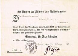 """Urkunde """" Ehrenkreuz Für Frontkämpfer """" - 1914-18"""