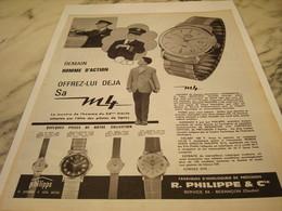 ANCIENNE PUBLICITE HOMME D ACTION  MONTRE PHILIPPE DE BESANCON 1963 - Joyas & Relojería