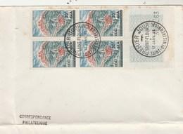 REUNION  FDC  Yvert 360 Bloc De 4 Saint Flour - St Denis 17/1/1965 - Pli Bas Et Gauche Enveloppe - Reunion Island (1852-1975)
