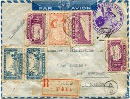 """SENEGAL LETTRE RECOMMANDEE PAR AVION CENSUREE AVEC CACHET """"GROUPE AERIEN AUTONOME..."""" DEPART THIES 17 FEV 40 POUR... - Sénégal (1887-1944)"""