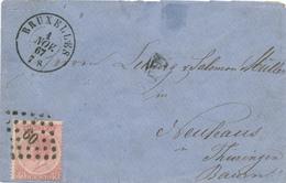 356/29 - Enveloppe TP 20 BRUXELLES 1867 Vers NEUHAUS Baiern - TARIF 40 C - Cote COB S/lettre 90 EUR - 1865-1866 Profiel Links