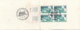 REUNION FDC Yvert 376 Bloc De 4 Sur Carte Souvenir 1967 - Format Plié : 9 X 12 Mm - Illustration 1 - Reunion Island (1852-1975)