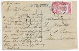 """COTES DES SOMALIS - 1921 - CARTE De DJIBOUTI (PAQUEBOT """"GENERAL"""") => FOREST SIDE (ILE MAURICE) - DESTINATION ! - Côte Française Des Somalis (1894-1967)"""