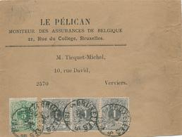 358/29 - IMPRIME Bande De Journal Complète TP Lion Couché 5 C + 3 X 1 C BRUXELLES 1892 - TARIF RARE à 8 C. - 1869-1888 Liggende Leeuw