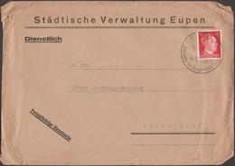 Belgique 1943. Lettre De L'administration Communale D'Eupen. Cachet, Retour Chez Les Fachos. Timbre Adolf Van Langenhove - Belgique