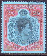 BERMUDA 1952 SG #117d 2sh6d Perf.13 Used CV £25.00 Black And Red/pale Blue (ordinary Paper) - Bermuda