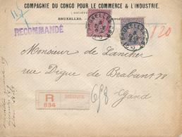 360/29 - Lettre Recommandée TP 46 Et 48 BRUXELLES 1890 Vers GAND - Entete Compagnie Du CONGO Pour Le Commerce - 1884-1891 Leopold II