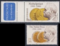 2001 Joint Issue / Gemeischaftsausgabe - Sweden Mi 2224 + USA Mi 3444 - Alfred Nobel (1833-1896) - Cent. Nobel Prizes - Gezamelijke Uitgaven