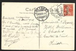 Carte Avec Cachet Convoyeur CLERMONT A St ETIENNE-Pour La Suisse - Marcophilie (Lettres)