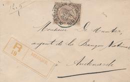 361/29 - Lettre Recommandée TP 49 BRUXELLES 1891 Vers AUDENARDE - COB 22.50 S/l. - 1884-1891 Leopold II