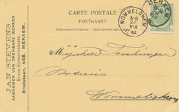 362/29 - Carte Privée TP Armoiries MERXEM 1912 Vers WOMMELGHEM - Entete Stevens Stoom Schrijnxerkerij - 1893-1907 Wapenschild