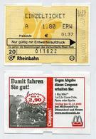 Ticket De Train Allemand Utilisé - Used German Train Ticket - Einzelticket Rheinbahn - Avec Pub Fastfood McDonald's - Chemins De Fer
