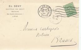 365/29 - Carte Privée TP Petit Albert LIEGE 1919 Vers BRAIVES - Entete Ed. Seny , Notaire , Docteur En Droit - 1915-1920 Albert I