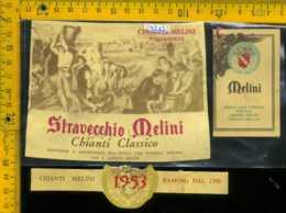 Etichetta Vino Liquore Chianti Stravecchio Melini 1953 - Pontassieve FI - Etiketten