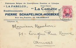 366/29 - Carte Privée TP Houyoux GEERAARDSBERGEN 1928 - Entete Couvertures Fabelco , La Comète - Schapelinck-Hoebeke - 1922-1927 Houyoux