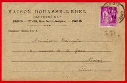 -- CARTE -RELEVE De FACTURE - MAISON BOUASSE LEBEL & DAUVERNE - PARIS - AFFRANCHISSEMENT PAIX N° 281 -- - Stamperia & Cartoleria