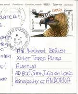 ESPAGNE. EUROPA 2019 AVES. Rapace., Sur Carte Postale Rapace, Adressée Andorra,avec Timbre à Date Arrivée - 2019
