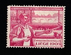 V-539 Exposition Internationale Vignette Liege 1905 MH* - 1905 – Liège (Belgium)