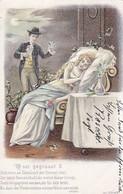 AK O Sei Gegrüsst - Mann Mit Blumen Und Schlafende Frau - Künstlerkarte - Prägedruck - 1901 (42345) - Paare