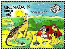 Granada 1988 Scott 1638 Sello ** Walt Disney SYDPEX Australia Camping Mickey Y Pluto Con Perro De Tasmania 1c Grenada - Disney