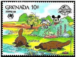 Granada 1988 Scott 1643 Sello ** Walt Disney SYDPEX Australia Mickey Y Donald Observando Ornitorrincos Platypus Grenada - Disney