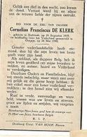 ZO1/ W.O. II/  ° STABROEK 1919 GESNEUVELD 00IGEM  1940  CORNELIUS DE KLERK Met Foto - Religion & Esotérisme