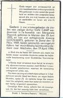 ZO1/ W.O. II/  ° MUIZEN 1893 EN ° ZEMST 1909 A.VAN CAMP EN JOANNA GOOVAERTS + 1944 BOMBARDEMENT - Religion & Esotérisme