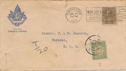 Curacao - 1917 - 10 Cent Port P23, Enkelfrankering Op Businesscover Uit Toronto / Canada - Curaçao, Antilles Neérlandaises, Aruba