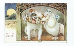 Postcard Dogs Used Comic Card Oui-oui Not Arf. Vpl Productions No 6 Posted 1944  Poodle - Hunde