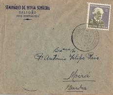 1954 INDIA PORTUGUESA , SOBRE CIRCULADO , MAT. SEMINARIO DE SALIGAO - MOIRÁ - Inde Portugaise