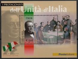 """Italia - Repubblica 2011 """"Protagonisti Dell'Unità D'Italia,  Camillo Benso Conte Di Cavour"""" Nuovo In Foglietto - 6. 1946-.. Repubblica"""