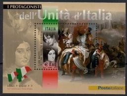 """Italia - Repubblica 2011 """"Protagonisti Dell'Unità D'Italia, Clara Maffei E Cristina Trivulzio Belgio"""" Nuovo In Foglietto - 6. 1946-.. Repubblica"""