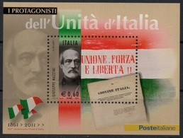 """Italia - Repubblica 2011 """"Protagonisti Dell'Unità D'Italia, Giuseppe Mazzini"""" Nuovo In Foglietto - 6. 1946-.. Repubblica"""