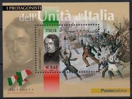 """Italia - Repubblica 2011 """"Protagonisti Dell'Unità D'Italia, Vincenzo Gioberti"""" Nuovo In Foglietto - 6. 1946-.. Repubblica"""
