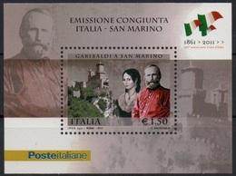 """Italia - Repubblica 2011 """"150º Ann. Conferimento Cittadinanza Onoraria Sammarinese A G. Garibaldi"""" Nuovo In Foglietto - 6. 1946-.. Repubblica"""