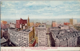 1922 , CHICAGO , TARJETA POSTAL CIRCULADA , CITY AND LAKE FROM MAJESTIC BUILDING , CHICAGO - Chicago