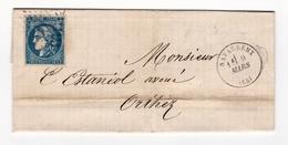 Lettre 1871 Navarrenx Pyrénées Atlantiques Orthez Émission De Bordeaux Cérès 20 Centimes Estaniol Avoué Cazaux - 1870 Uitgave Van Bordeaux