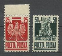 POLEN Poland 1944 Michel 383 - 384 National Symbols MNH - 1944-.... Republik