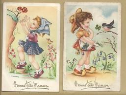 CPA Illustrateur Gougeon Lot De 2 Cartes Bonne Fête Maman Fillette Paillette - Gougeon