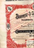 Ancien Titre - Sté Anonyme De Tramways Electriques Biarritz-St-Sébastien-Tolosa - Titre De 1910 N°01204 - VF - Déco - Ferrovie & Tranvie