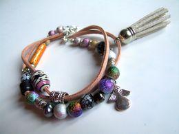 Bracelet Artisanal, Bijou Bohème, Bracelet 3 Rangs, Boho, Ange, Pompon Suédine, Verre, Céramique Pérou, Artisanat França - Bracelets