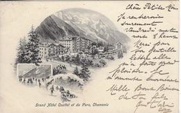 74 CHAMONIX GRAND HOTEL COUTTET ET DU PARC VALLEE DE CHAMONIX MONT BLANC CACHET FERROVIAIRE CHAMONIX AU FAYET - Chamonix-Mont-Blanc